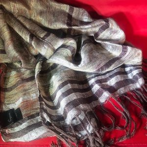 Cejon fringed scarf brown with metallic threads